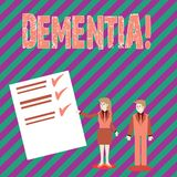 Εννοιολογικό χέρι που γράφει παρουσιάζοντας άνοια Το μακροπρόθεσμα σημάδι και τα συμπτώματα απώλειας μνήμης κειμένων επιχειρησιακ απεικόνιση αποθεμάτων