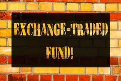 Εννοιολογικό χέρι που γράφει παρουσιάζοντας εμπορικό ανταλλαγή Ταμείο Επιχειρησιακή φωτογραφία που επιδεικνύει την εμπορεύσιμη ασ στοκ φωτογραφίες με δικαίωμα ελεύθερης χρήσης