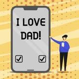 Εννοιολογικό χέρι που γράφει παρουσιάζοντας μπαμπά αγάπης Ι Καλά συναισθήματα κειμένων επιχειρησιακών φωτογραφιών για την ευτυχία ελεύθερη απεικόνιση δικαιώματος