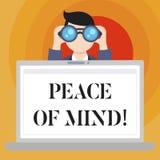 Εννοιολογικό χέρι που γράφει παρουσιάζοντας ψυχική ηρεμία Το κείμενο επιχειρησιακών φωτογραφιών για να είναι ειρηνικό ευχαριστημέ διανυσματική απεικόνιση