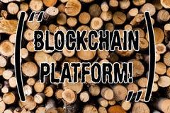 Εννοιολογικό χέρι που γράφει παρουσιάζοντας πλατφόρμα Blockchain Επιχειρησιακή φωτογραφία που επιδεικνύει την ψηφιακή ανταλλαγή C στοκ εικόνα με δικαίωμα ελεύθερης χρήσης