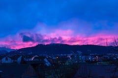 Εν τω μεταξύ στο ηλιοβασίλεμα της Κροατίας σε Samobor στοκ εικόνα