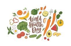 Εορταστικό έμβλημα ημέρας παγκόσμιας υγείας με την κομψή εγγραφή που περιβάλλεται από ολόκληρα τα θρεπτικά τρόφιμα, ακατέργαστα φ απεικόνιση αποθεμάτων