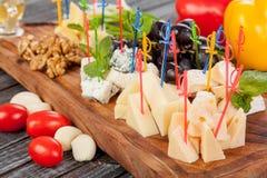 Εύγευστη πιάτο τυριών ή πιατέλα τυριών από διάφορους τύπους τυριών με το μέλι και τα φρούτα στοκ φωτογραφίες