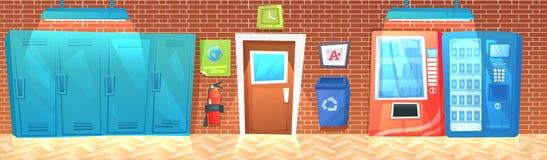 Εσωτερικό έμβλημα διαδρόμων γυμνασίου με τη σειρά των ντουλαπιών και των απορριμμάτων και του πυροσβεστήρα ελεύθερη απεικόνιση δικαιώματος