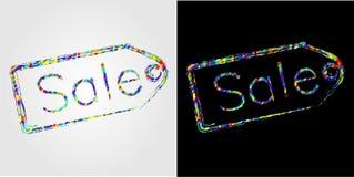 Ετικέτα με τις εκπτώσεις επιγραφής που σύρονται από τη βούρτσα χρώματος διανυσματική απεικόνιση
