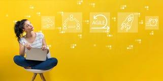Ευκίνητη έννοια με τη γυναίκα που χρησιμοποιεί ένα lap-top στοκ φωτογραφία με δικαίωμα ελεύθερης χρήσης