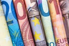 Ευρο- κινηματογράφηση σε πρώτο πλάνο λογαριασμών, ευρωπαϊκά χρήματα μετρητών νομίσματος στοκ εικόνες με δικαίωμα ελεύθερης χρήσης