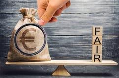 Ευρο- τσάντα χρημάτων και ξύλινοι φραγμοί με την έκθεση λέξης Ισορροπία Δίκαιη τιμολόγηση αξίας, χρέος χρημάτων Ανάλυση επένδυσης στοκ φωτογραφία με δικαίωμα ελεύθερης χρήσης
