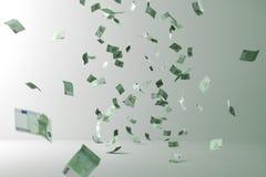 ευρωπαϊκός μειωμένος ουρανός βροχής χρημάτων Πετώντας χρήματα διανυσματική απεικόνιση