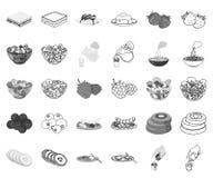Ευώδης μονοχρωματικός επιδορπίων, εικονίδια περιλήψεων στην καθορισμένη συλλογή για το σχέδιο Τρόφιμα και διανυσματικός Ιστός απο ελεύθερη απεικόνιση δικαιώματος