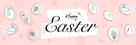 Ευτυχές έμβλημα χαιρετισμού Πάσχας με τις διαφορετικές οργανικές μορφές και doodles των λουλουδιών, των αυγών και των ζώων λαγουδ ελεύθερη απεικόνιση δικαιώματος
