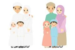 Ευτυχές μουσουλμανικό διάνυσμα οικογενειακού πορτρέτου διανυσματική απεικόνιση