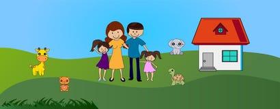 Ευτυχές οικογενειακό υπαίθριο κοντινό χαριτωμένο σπίτι ελεύθερη απεικόνιση δικαιώματος