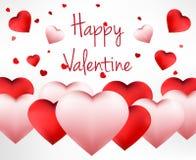 Ευτυχές υπόβαθρο ημέρας βαλεντίνων με την κόκκινη καρδιά διανυσματική απεικόνιση