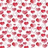 Ευτυχής απεικόνιση υποβάθρου καρδιών watercolor ημέρας βαλεντίνων πρότυπο άνευ ραφής στοκ εικόνα