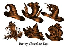 Ευτυχής ημέρα σοκολάτας, διανυσματικό σχέδιο, αριθμοί σοκολάτας απεικόνιση αποθεμάτων