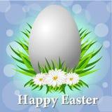 Ευτυχής κάρτα Πάσχας με τα αυγά, τη χλόη, τα λουλούδια και την επίδραση Bokeh διανυσματική απεικόνιση