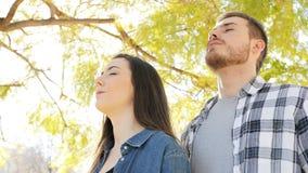 Ευτυχής καθαρός αέρας αναπνοής ζευγών σε ένα πάρκο απόθεμα βίντεο