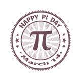 Ευτυχής σφραγίδα ημέρας pi που απομονώνεται στο άσπρο υπόβαθρο Το σχέδιο του παλαιού που φοριέται γύρω από το γραμματόσημο για το απεικόνιση αποθεμάτων