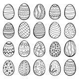 Ευτυχής συλλογή αυγών Πάσχας, συρμένο χέρι σύνολο, διάνυσμα 20 διαφορετικά σχέδια στοκ εικόνες