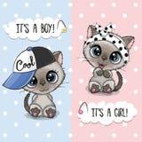 Ευχετήρια κάρτα ντους μωρών με τα χαριτωμένα γατάκια ελεύθερη απεικόνιση δικαιώματος