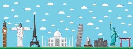 Επίπεδα παγκόσμια ορόσημα σχεδίου διανυσματική απεικόνιση