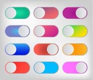 Επίπεδοι ζωηρόχρωμοι switchers εικονιδίων onoff που απομονώνονται στο άσπρο υπόβαθρο ελεύθερη απεικόνιση δικαιώματος