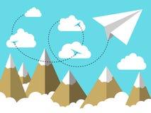 Επίπεδο έγγραφο αεροπλάνων ή αεροπλάνων απεικόνισης που πετά στον ουρανό επάνω από τα σύννεφα και πέρα από το τοπίο βουνών διανυσματική απεικόνιση