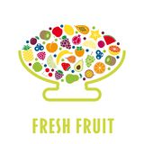 Επίπεδο κύπελλο φρούτων σχεδίου που απομονώνεται ελεύθερη απεικόνιση δικαιώματος