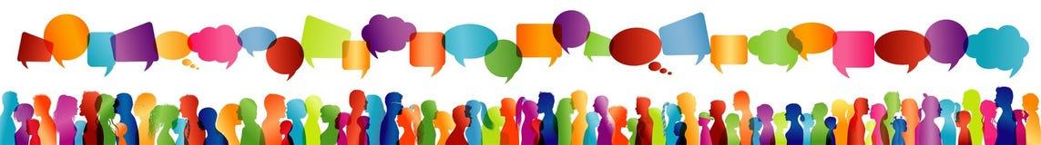Επικοινωνία μεταξύ των μεγάλων ομάδων ανθρώπων που μιλούν Ομιλία πλήθους Επικοινωνήστε την κοινωνική δικτύωση Διάλογος μεταξύ των διανυσματική απεικόνιση