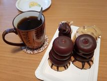 Επιδόρπια και καφές στοκ φωτογραφία