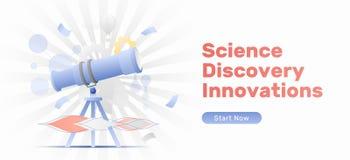 Επιστήμη, ανακάλυψη, έμβλημα καινοτομιών διανυσματική απεικόνιση