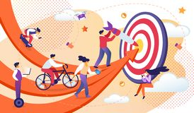 Επιχειρηματίες που κινούνται από τα βέλη προς τον κοινό στόχο ελεύθερη απεικόνιση δικαιώματος
