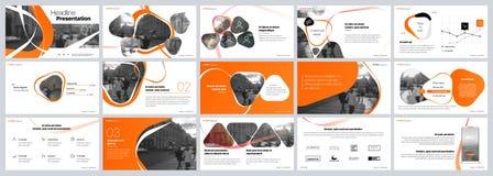 Επιχειρησιακό διάνυσμα παρουσίασης Template Πορτοκαλιά στοιχεία για τις παρουσιάσεις φωτογραφικών διαφανειών για ένα άσπρο υπόβαθ στοκ εικόνες
