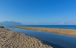 Î•stuaries of the river Neda at Peloponnese, Greece. Estuaries of the river Neda. View of the Gulf of Kyparissia at western Peloponnese, Greece royalty free stock image