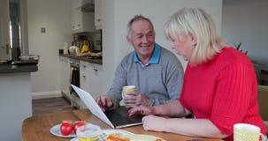 Ζεύγος που χρησιμοποιεί το lap-top πέρα από το μεσημεριανό γεύμα απόθεμα βίντεο