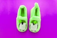 Ζευγάρι των πράσινων υφαντικών παντοφλών που απομονώνεται πέρα από το λευκό στοκ φωτογραφία