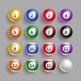 Ζωηρόχρωμες σφαίρες μπιλιάρδου με τους αριθμούς ελεύθερη απεικόνιση δικαιώματος