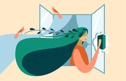 Ζωηρόχρωμη απεικόνιση του ανοιξιάτικου καθαρισμού και πλένει ένα παράθυρο ελεύθερη απεικόνιση δικαιώματος