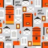 Ζωηρόχρωμο άνευ ραφής σχέδιο με τα γραμματοκιβώτια, τους φακέλους και τις επιστολές διανυσματική απεικόνιση