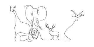 Ζωικό σχέδιο γραμμών ζωολογικών κήπων συνεχές του ελέφαντα, του λιονταριού, των ελαφιών, του πουλιού, και giraffe της διανυσματικ απεικόνιση αποθεμάτων