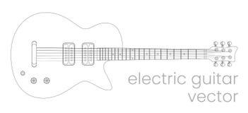 Ηλεκτρική απεικόνιση κιθάρων Όργανο μουσικής ροκ Διανυσματικό σκίτσο γραμμών διανυσματική απεικόνιση
