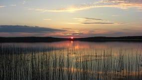 Ηλιοβασίλεμα της Καρελίας στη λίμνη στα ξύλα στοκ εικόνες με δικαίωμα ελεύθερης χρήσης