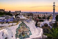 Ηλιοβασίλεμα Guell πάρκων στοκ εικόνα με δικαίωμα ελεύθερης χρήσης