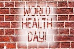 Ημέρα παγκόσμιας υγείας γραψίματος κειμένων γραφής Έννοια που σημαίνει την ειδική ημερομηνία για το υγιές τούβλο πρόληψης προσοχή ελεύθερη απεικόνιση δικαιώματος
