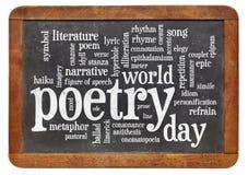 Ημέρα παγκόσμιας ποίησης - σύννεφο λέξης στοκ εικόνες με δικαίωμα ελεύθερης χρήσης