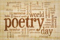 Ημέρα παγκόσμιας ποίησης - σύννεφο λέξης στοκ εικόνες