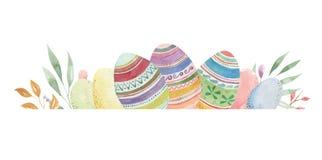 Η άνοιξη κρητιδογραφιών αυγών Πάσχας λαγουδάκι Watercolor αφήνει τα σύνορα διανυσματική απεικόνιση