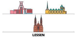 Η Γερμανία, ελαττώνει την επίπεδη διανυσματική απεικόνιση ορόσημων Η Γερμανία, ελαττώνει την πόλη γραμμών με τις διάσημες θέες τα ελεύθερη απεικόνιση δικαιώματος